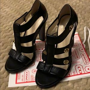 Coach Black leather caged stacked heel sandals